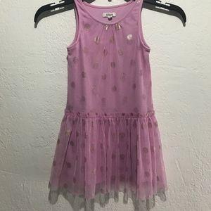 Fabkids pink and gold polka dot dress